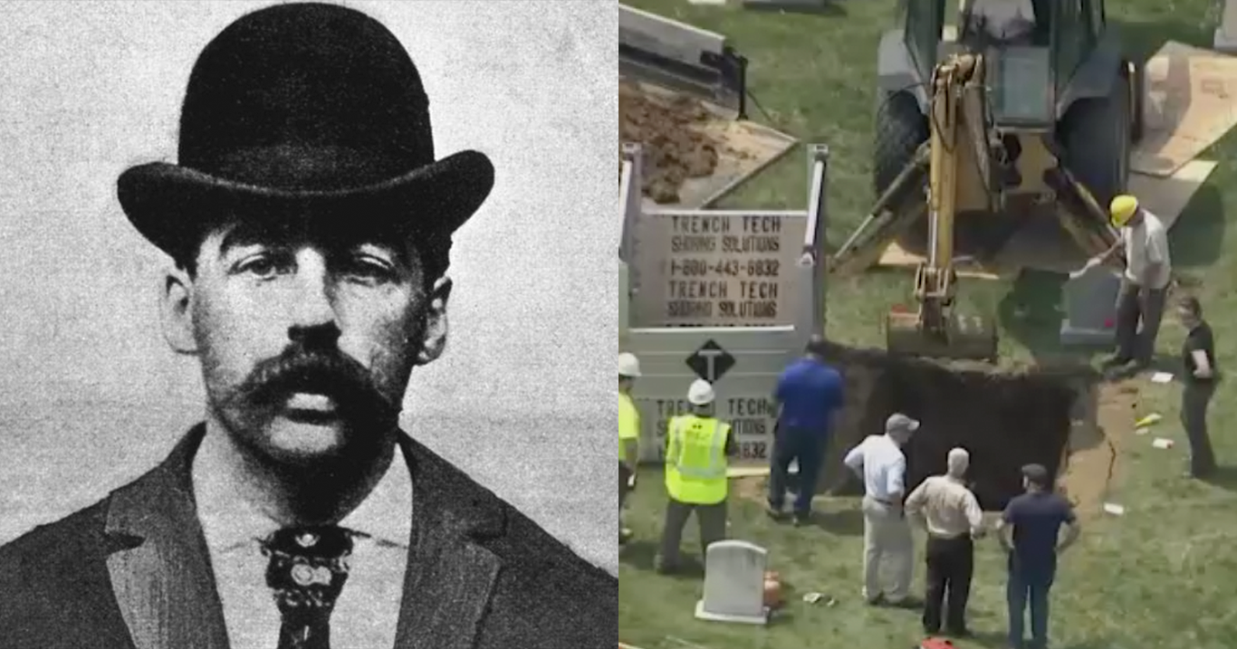 HH Holmes Skeleton Found in Concrete with Brain Intact