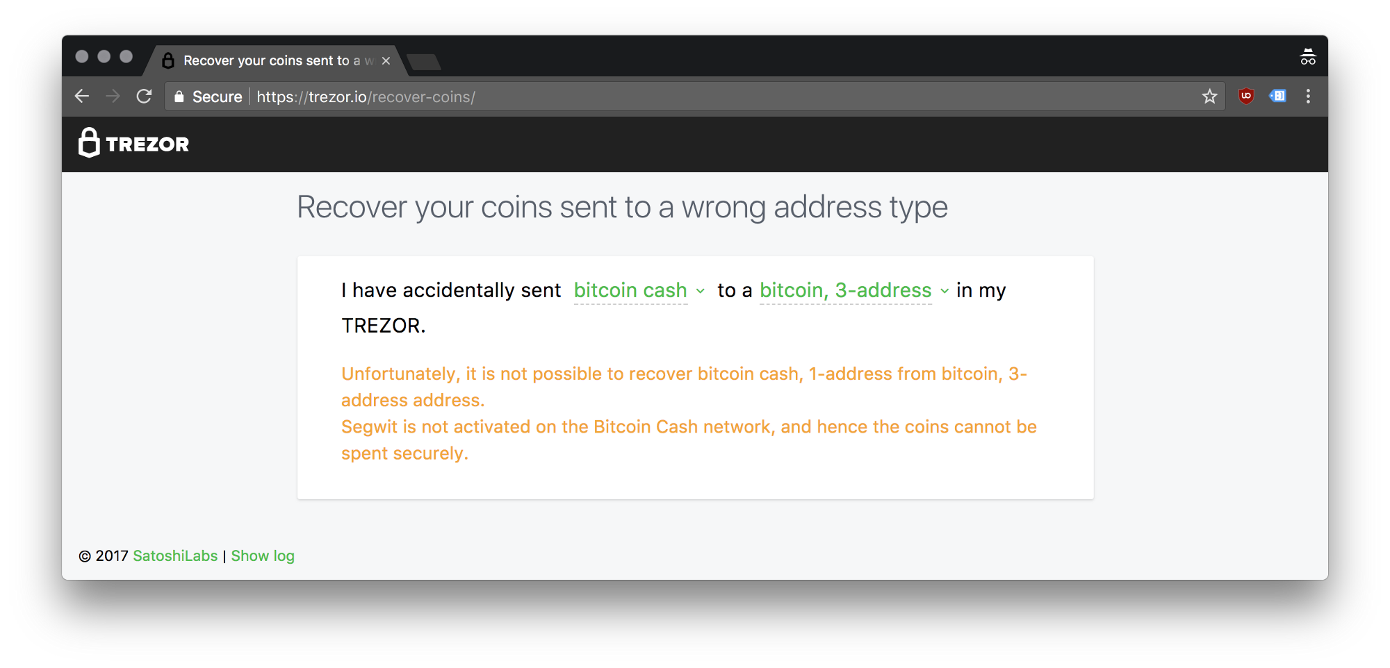 Guide coin recovery tool trezor blog as a consequence there is no safe way how to recover your bitcoin cash sent to a p2sh address this applies to bitcoin cash sent to litecoin 3m addresses ccuart Gallery