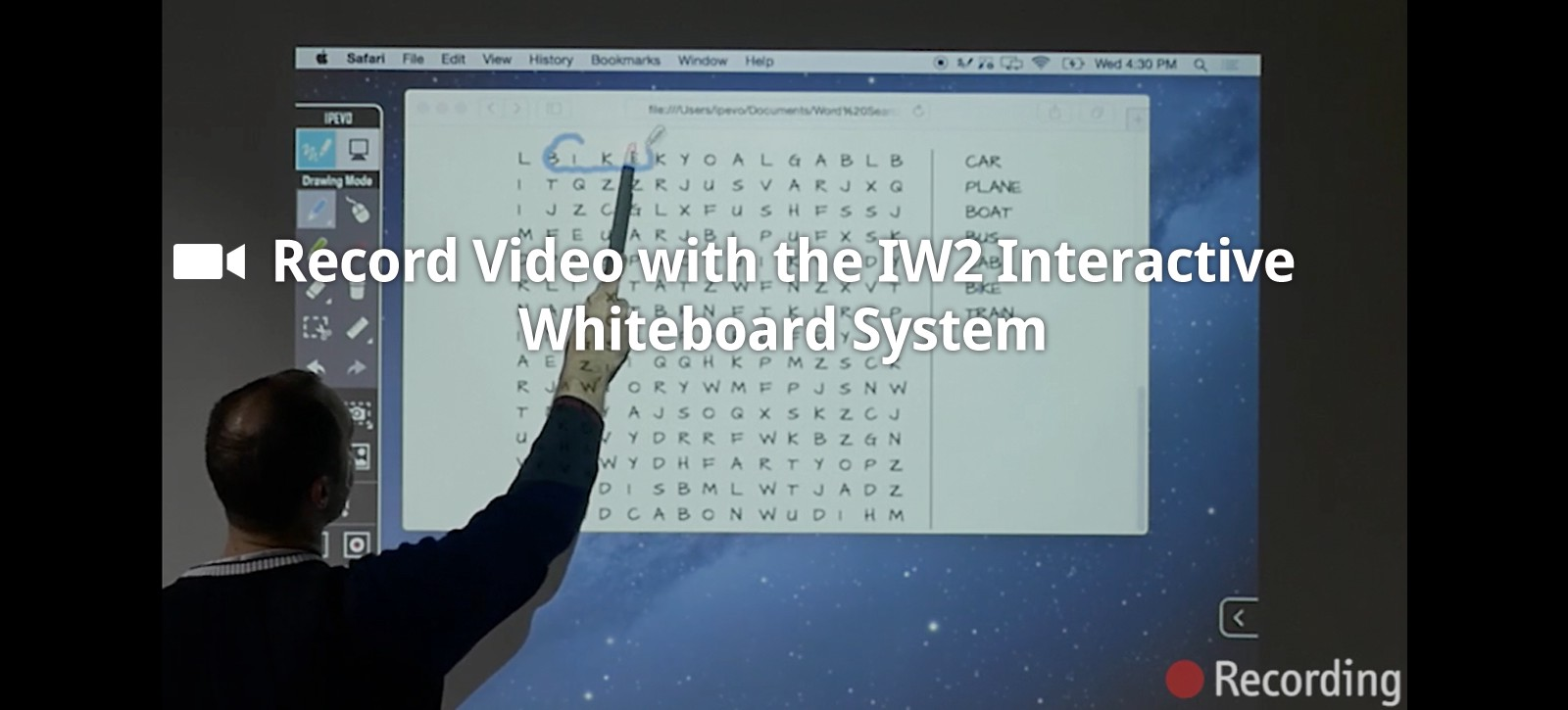 Record Video with the IW2 Interactive Whiteboard System