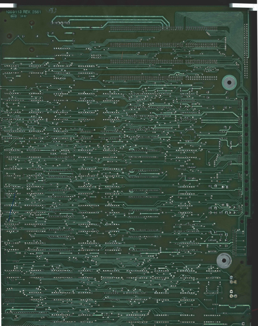Scanned back side of the PCB
