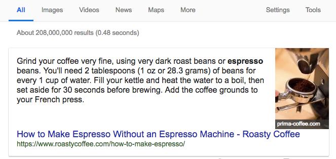 """example to the featured snippet: """"how to make espresso"""""""