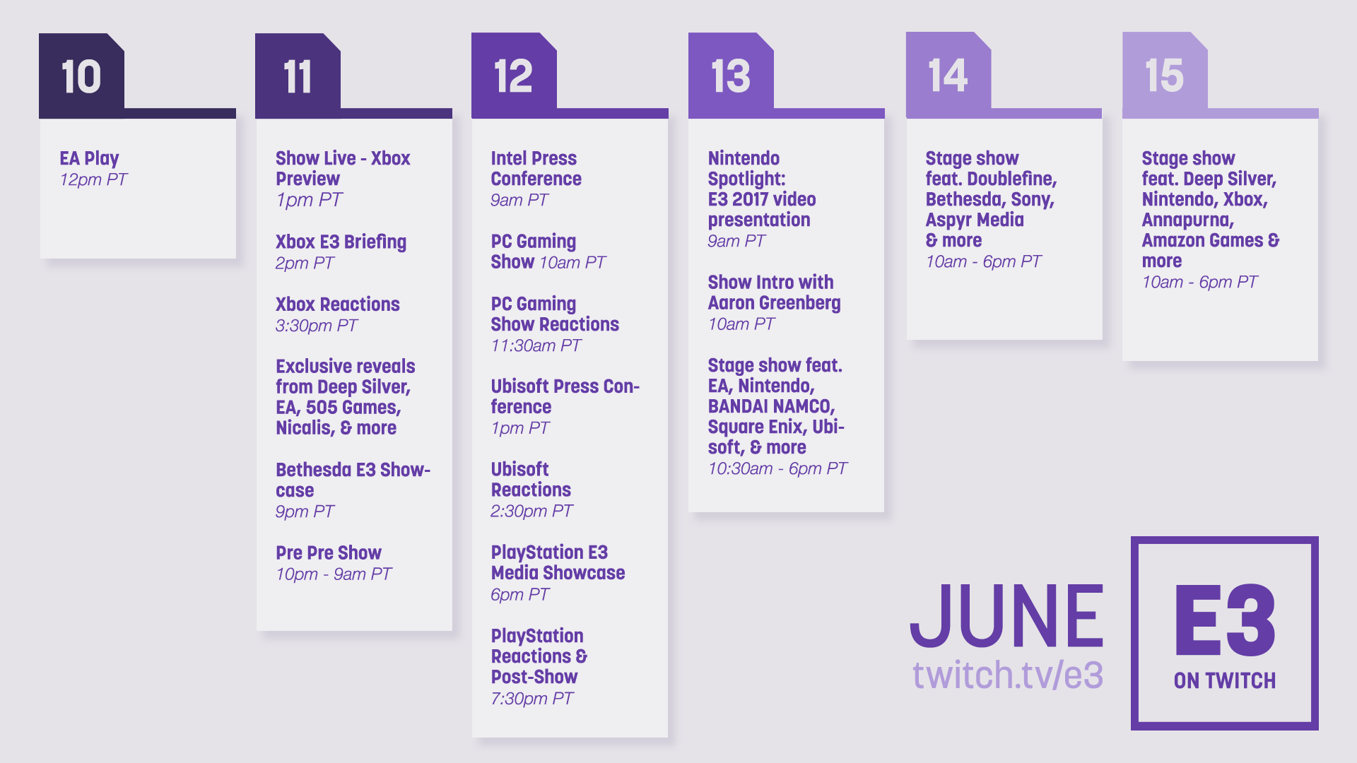 E3 2017 is coming to you live on twitch twitch blog all the action brought to you live on twitche3 stopboris Choice Image