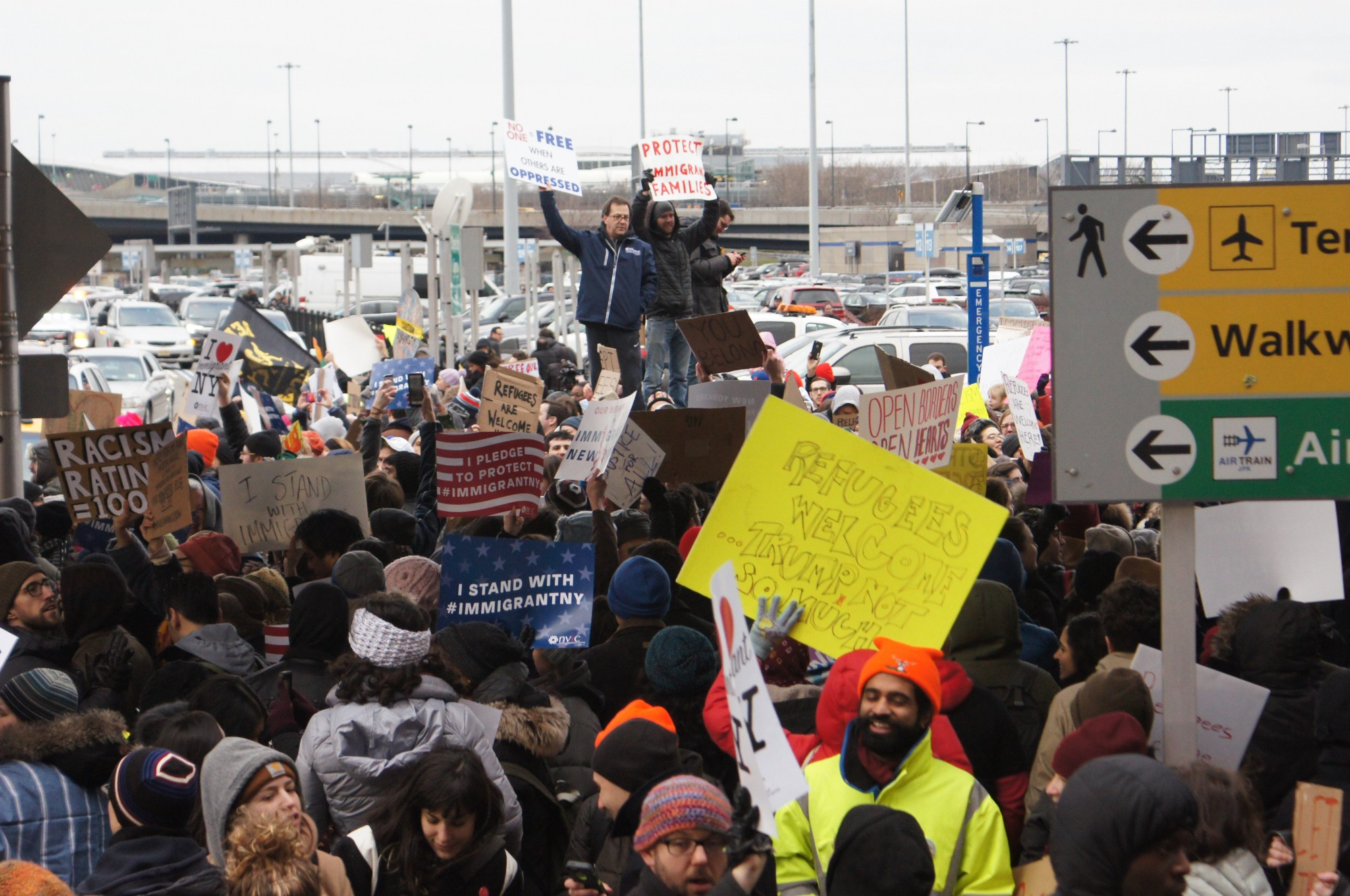 Thousands Gathered at JFK and Cadman Plaza to Protest ...