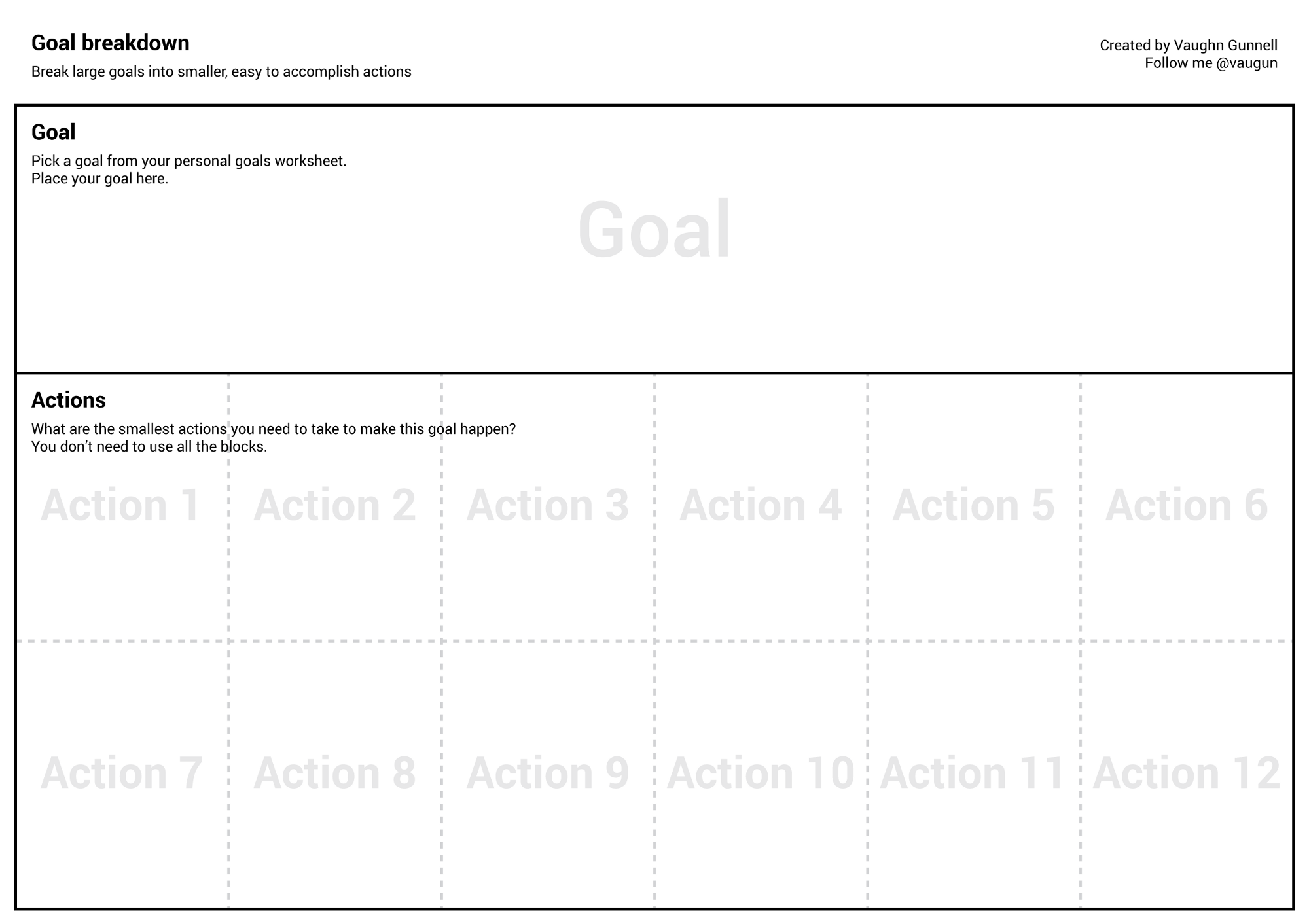 worksheet Jim Rohn Goal Setting Worksheet how to turn your dreams into actions vaughn gunnell medium click here get the goal breakdown worksheet