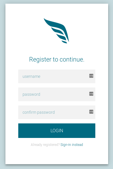 The default Flitter registration page.