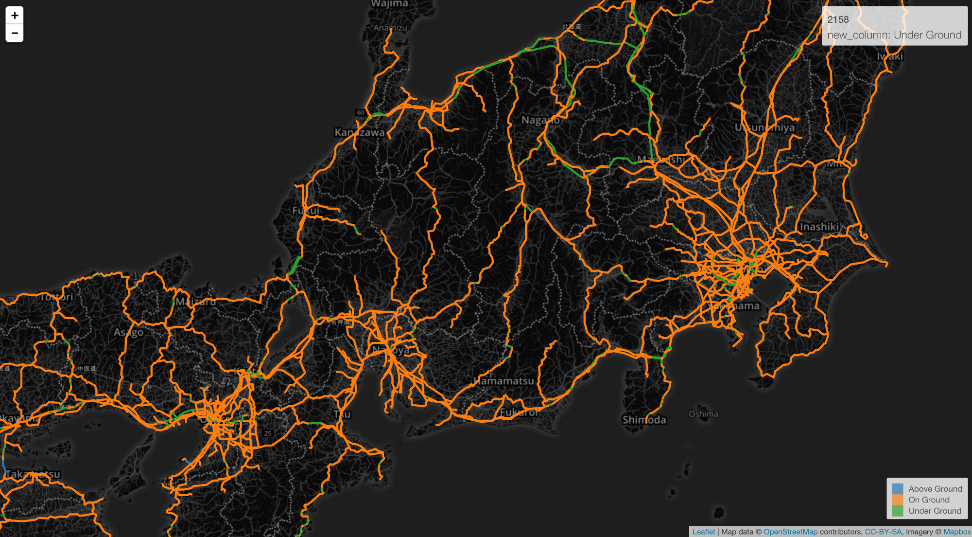 Visualizing geospatial data with your own geojson learn data science railroads in japan gumiabroncs Images