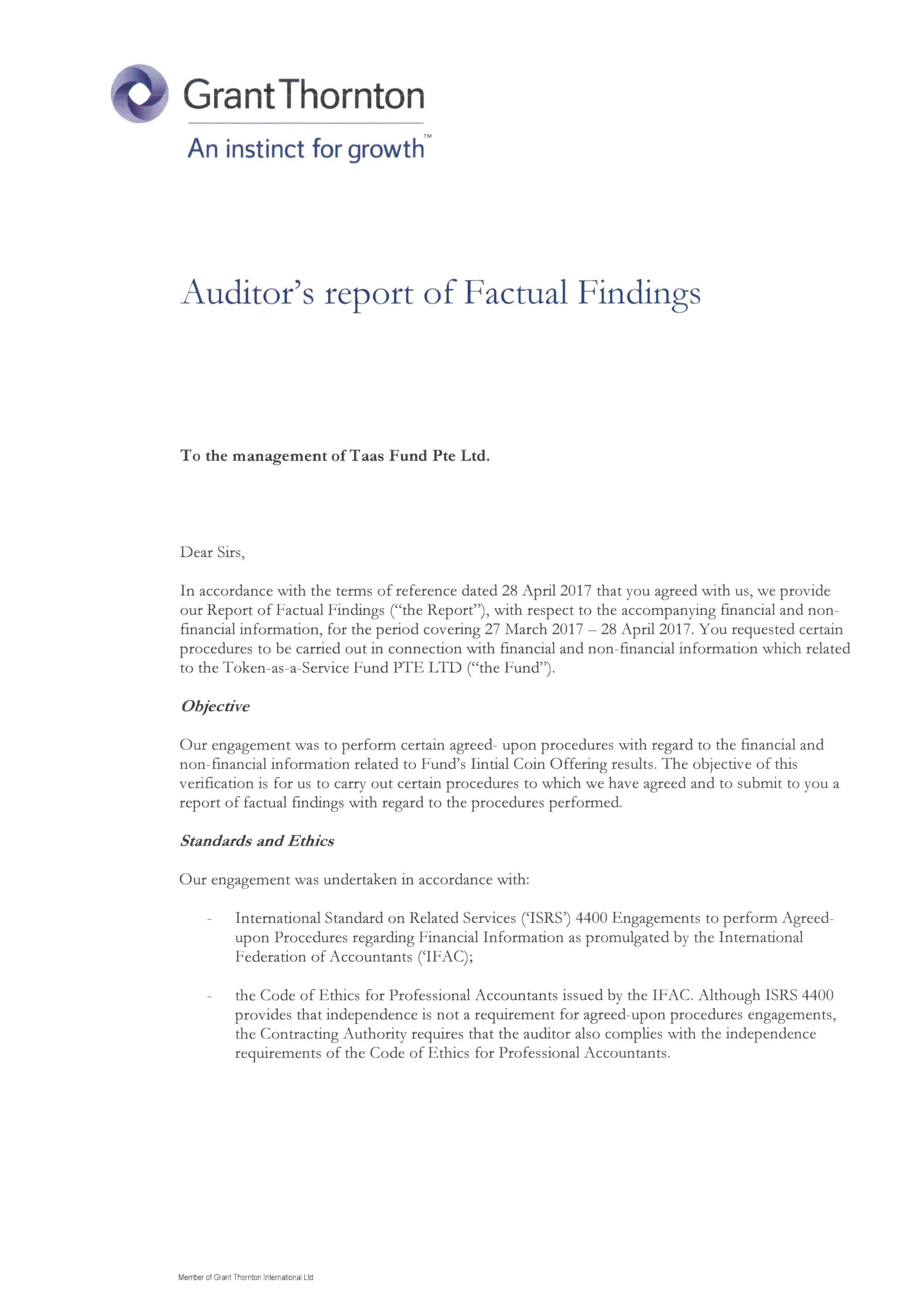 Summary Auditor s report of TaaS ICO Factual Findings