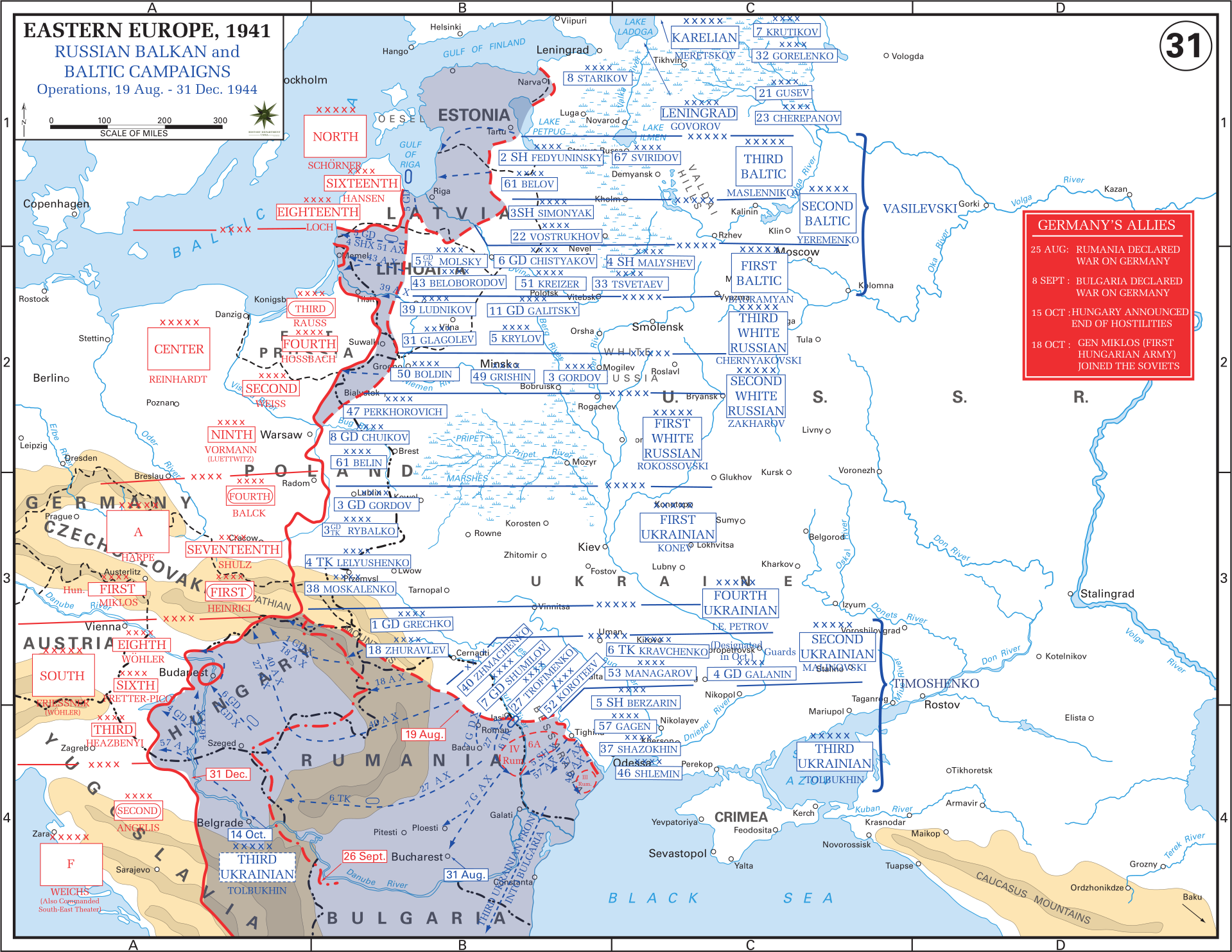 Eastern front maps of world war ii inflab medium russian balkan and baltic campaigns 19 august 31 december 1944 gumiabroncs Image collections