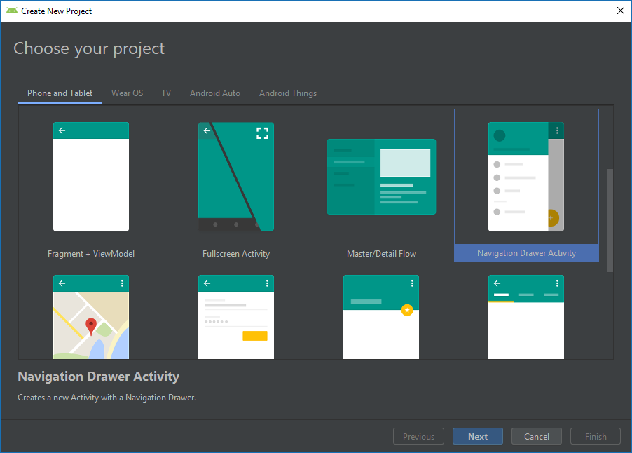 Choosing Project Template in Android Studio