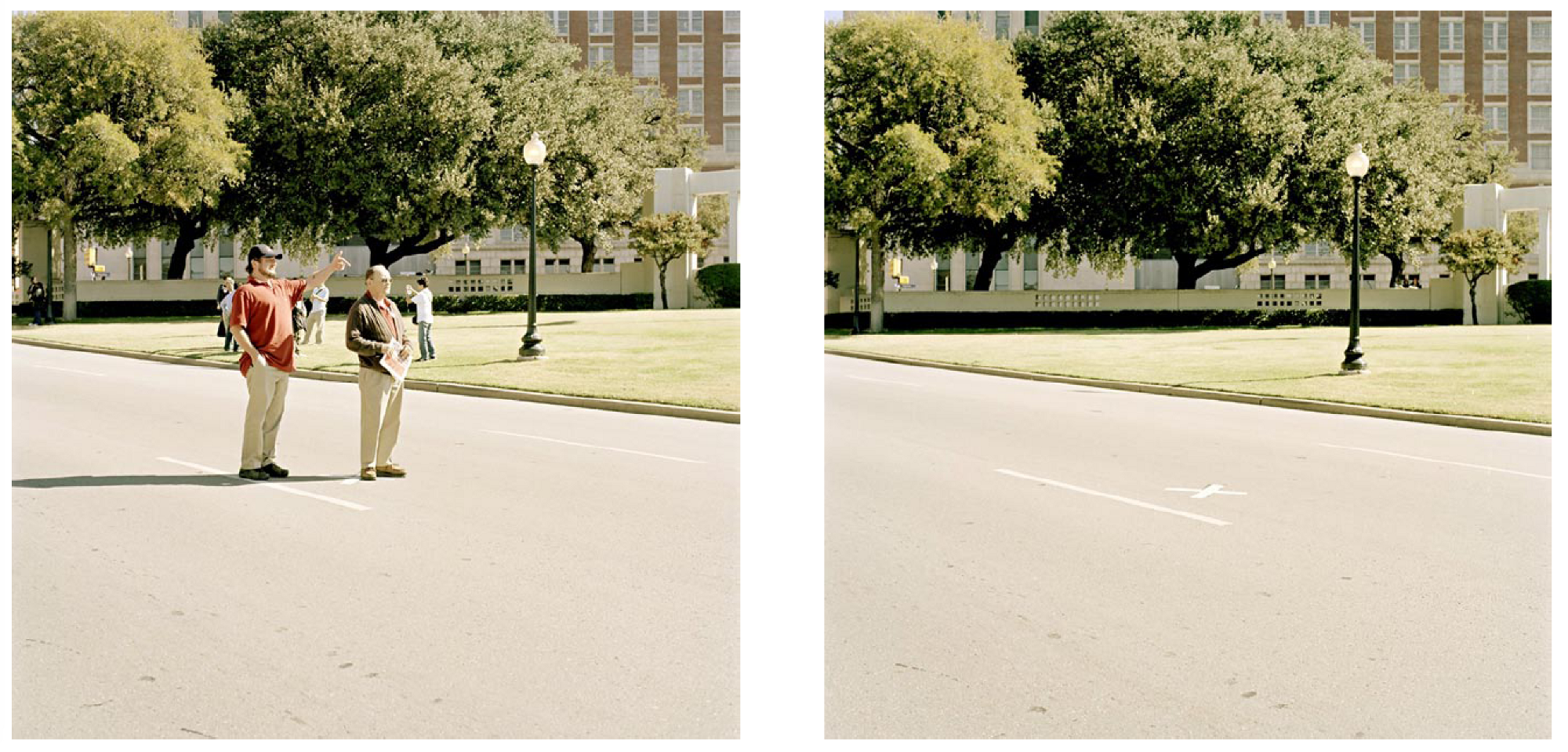 "the kennedy assassination and zapruder film conspiracy theories  ""jfk assassination site "" the x marks the spot of the fatal headshot in dealey plaza photos from peter granser signs stuttgart hatje cantz 2008"