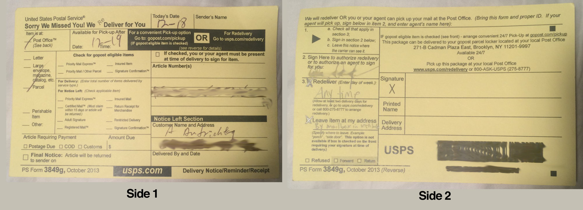 I Redesigned The USPS Package Delivery Slip.