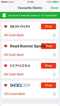 Favourite stores screen with a bit annoying design bug (Ebates)