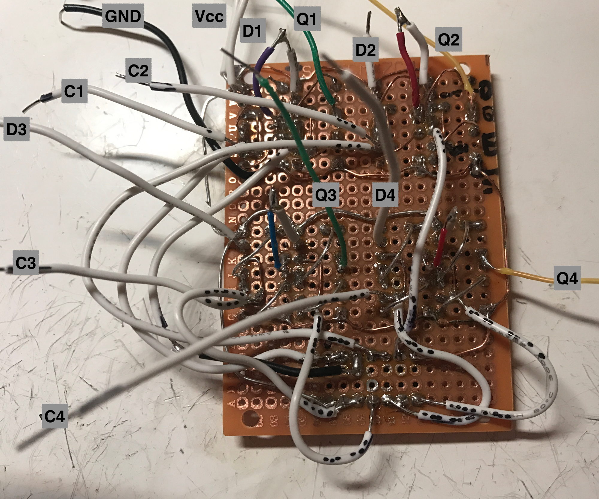 Building A 4 Bit Shift Register From 7400 Nand Gates For Gpio Output 7 Segment Decoder Logic Diagram The Hardest Step Is Completed Now It Only Matter Of Chaining Master Slave Flip Flops Into