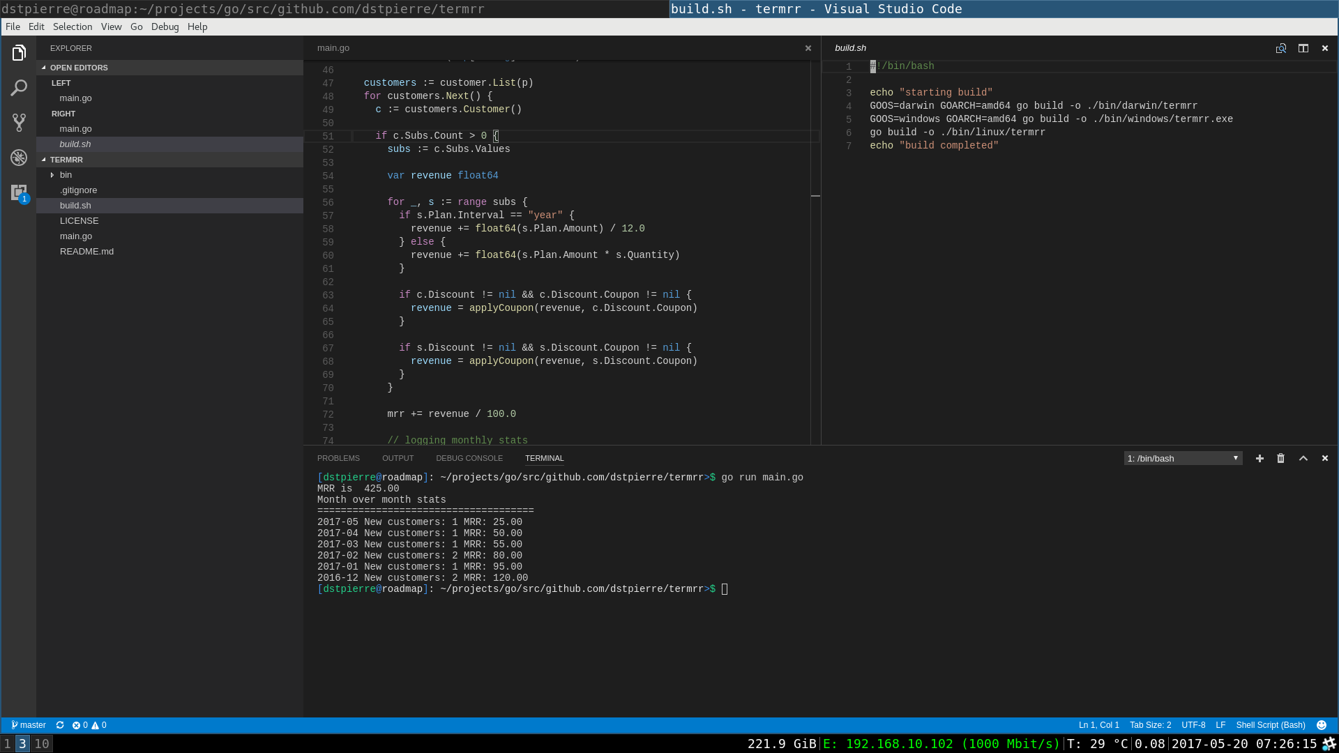 Code editor showing the main calculation logic and the terminal output for termrr
