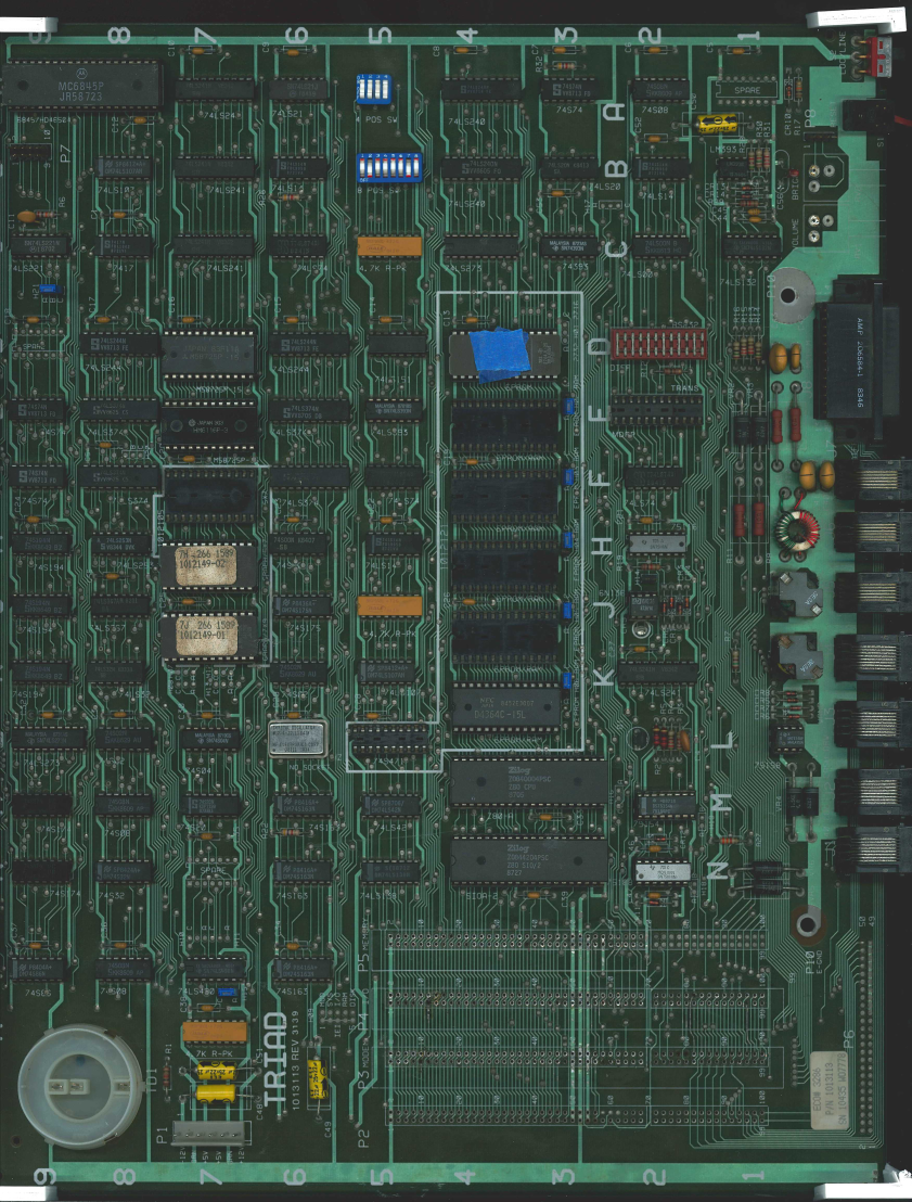 Scanned front side of the PCB
