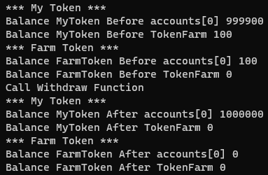 output of withdrawMyTokenFromTokenFarm.js