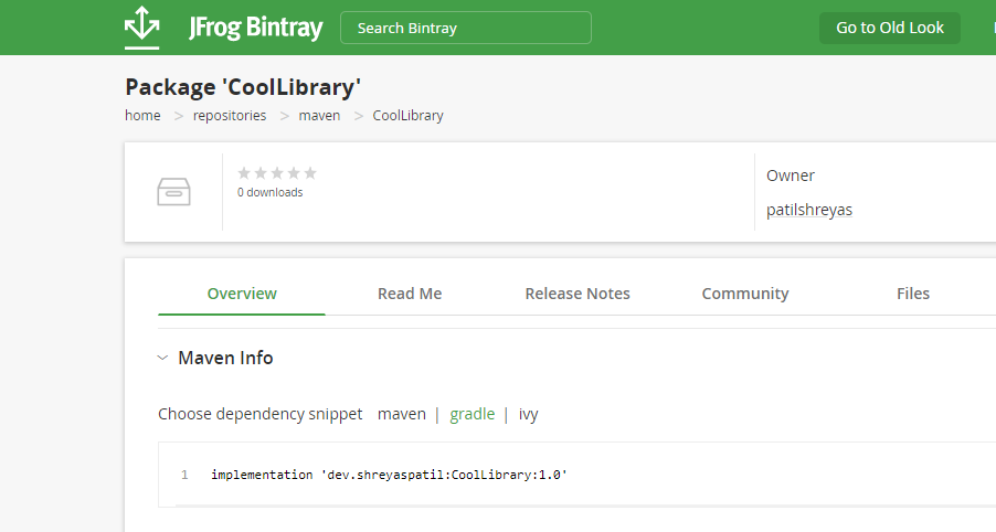 Your package details on Bintray