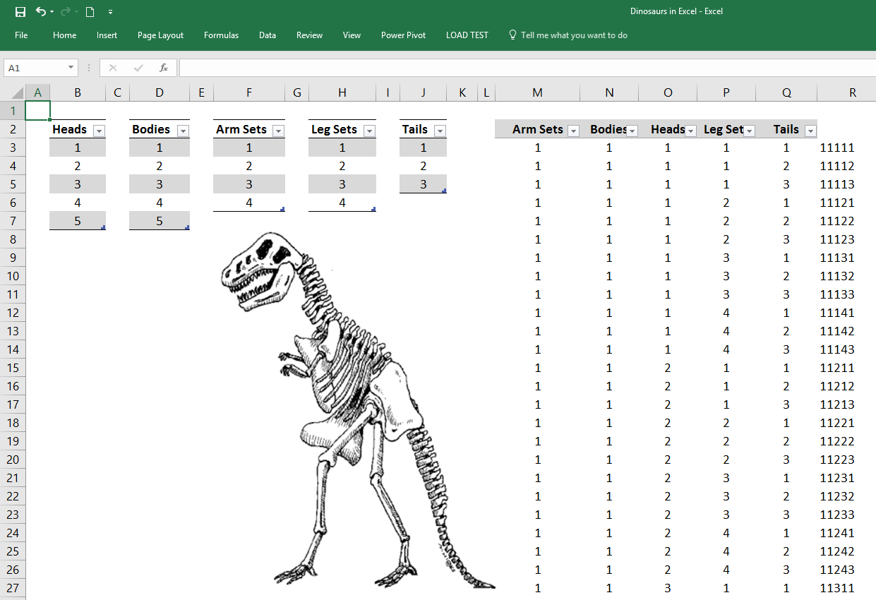 Finding Dinosaurs with Excel