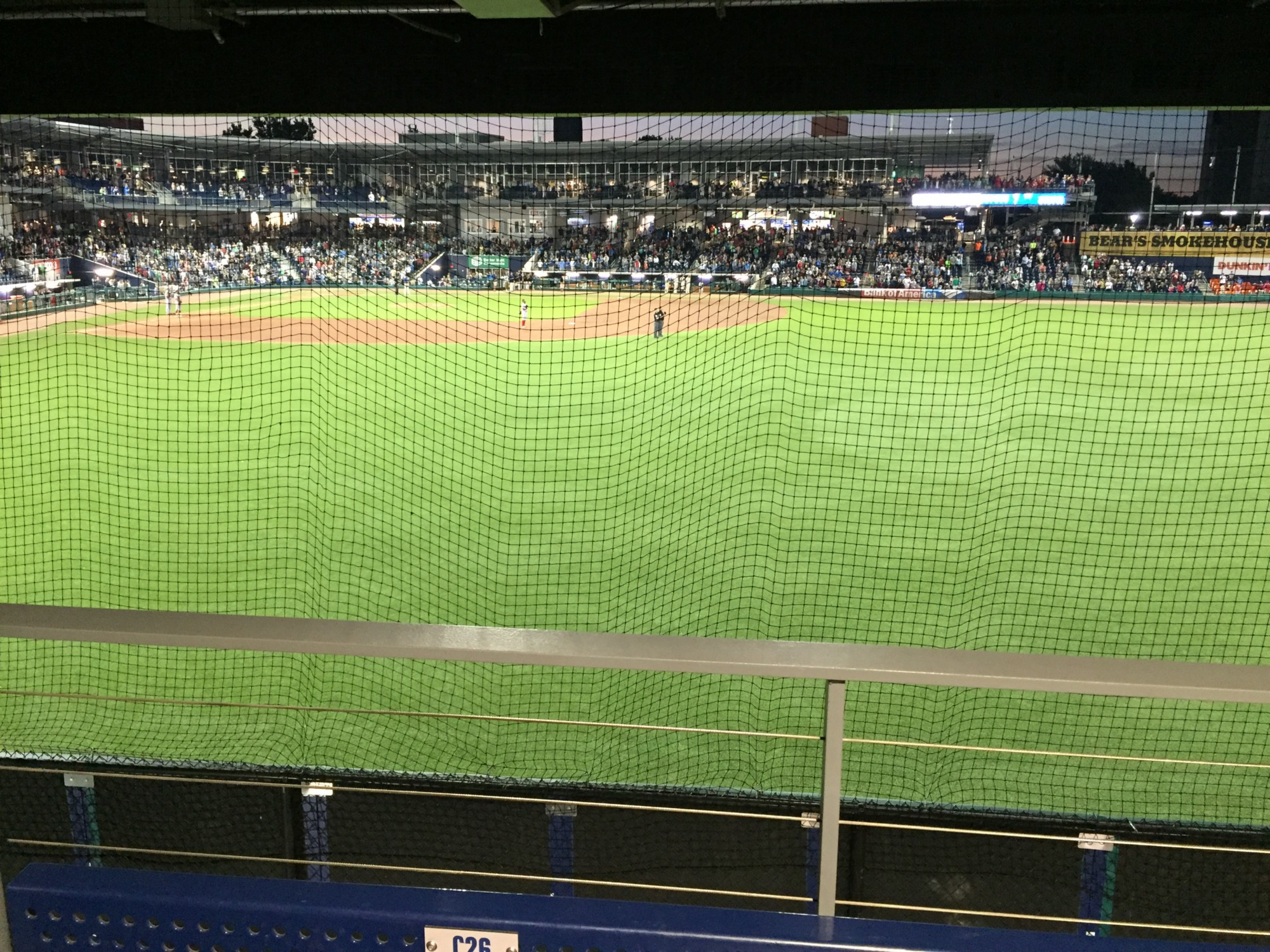 Dunkin Donuts Park has small dimensions and nowhere moreso than in right field it s just 308 down the line The net was added after Minor League