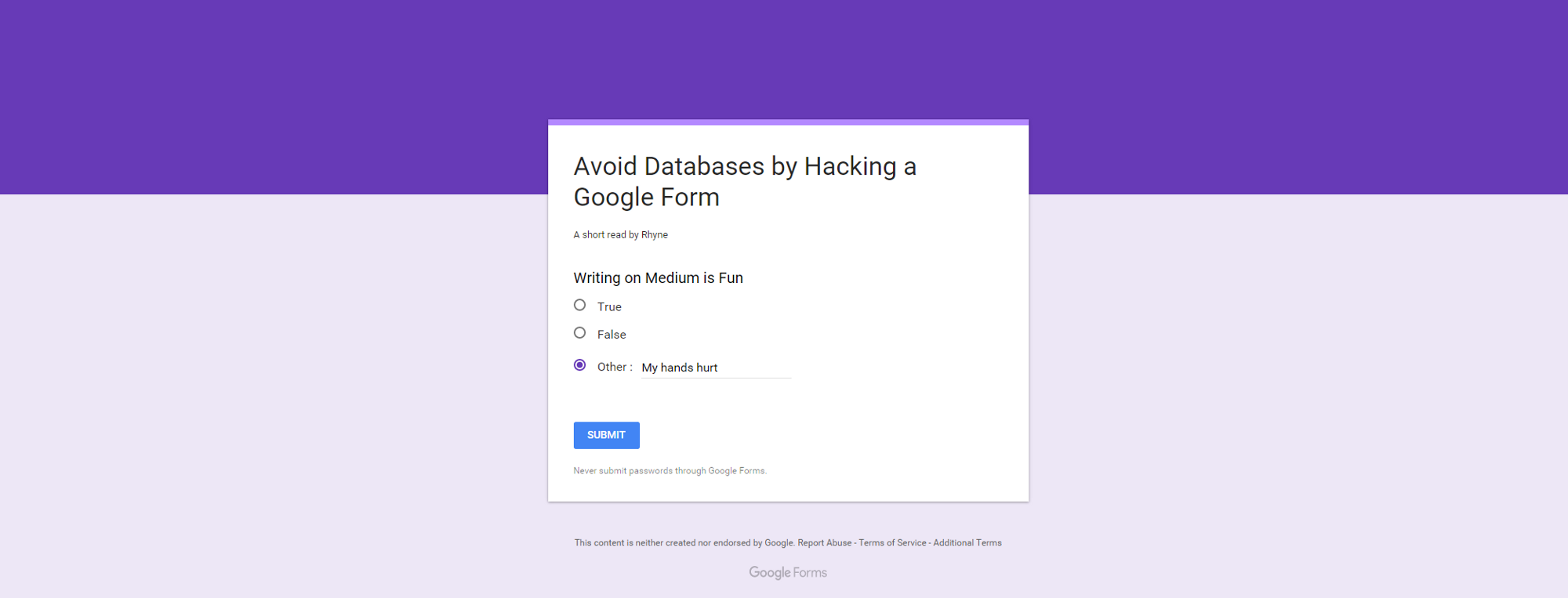 avoid databases by hacking a google form – codeburst