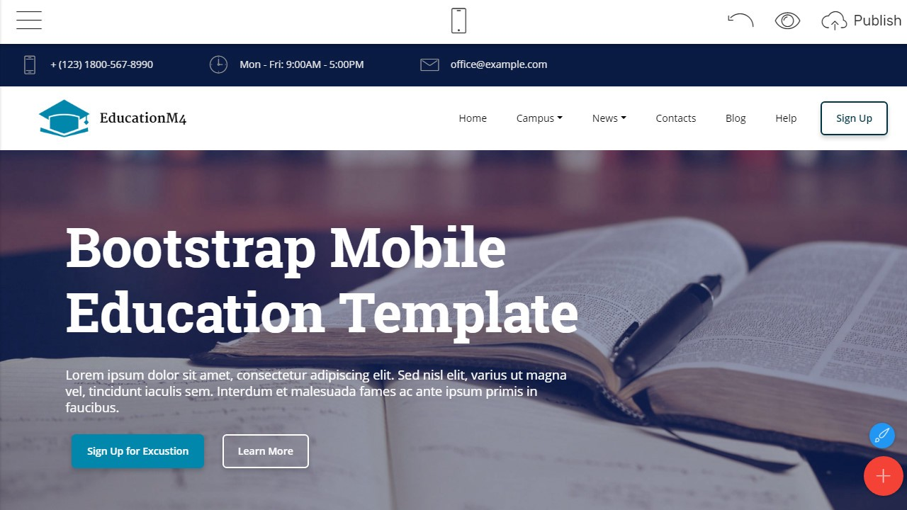 one of the educational bootstrap templates