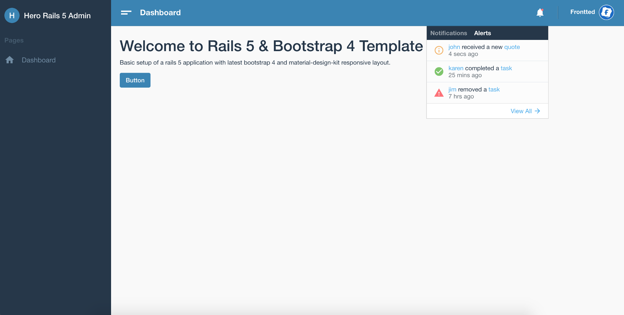 From Rails 5 to Bootstrap 4 — Responsive Admin Dashboard Template