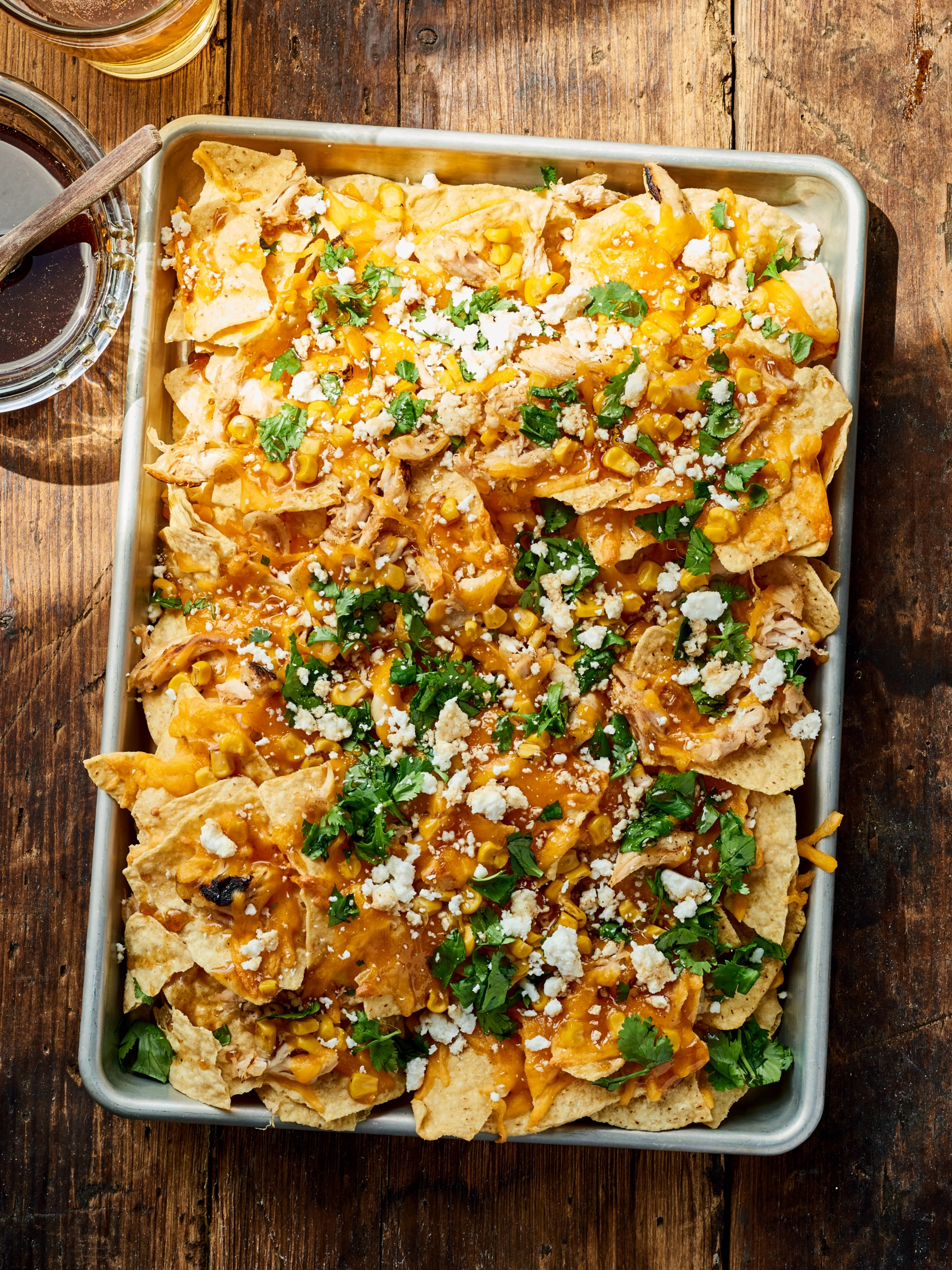 Pulled Chicken Nachos With Bbq Infused Honey Recipe Here