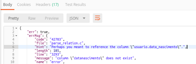 Exception telling me the correct column name