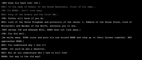 Snippet of Game of Thrones script