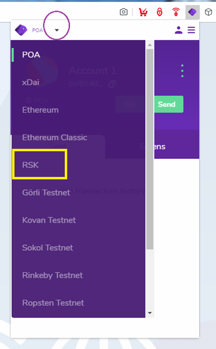 RSK network is pre-configured in the Nifty Wallet