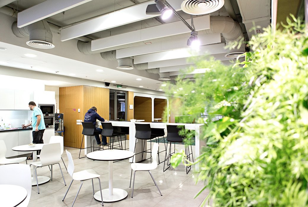 """Nvidia has been one of the top ten most eco-friendly companies of America  for a few years. """"A GREEN WALL"""" IS ARRANGED IN FRONT OF THE ENTRANCE TO THE  ..."""