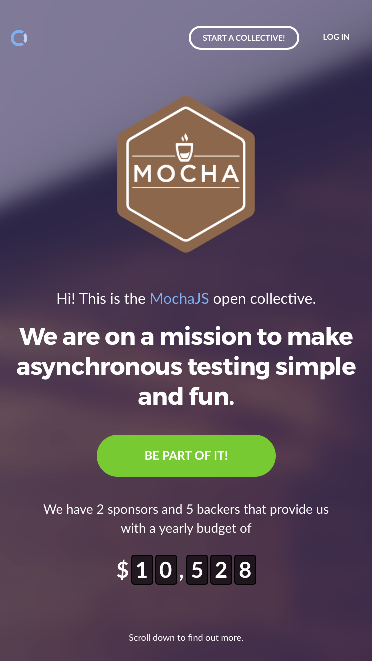 The open collective page of MochaJS (https://opencollective.com/mochajs)