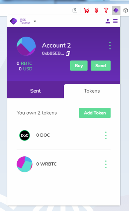 Now you have the DOC and WRBTC tokens on testnet