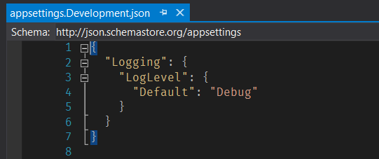 Arquivo appsettings.Development.json — com Log Level Default sobrescrito