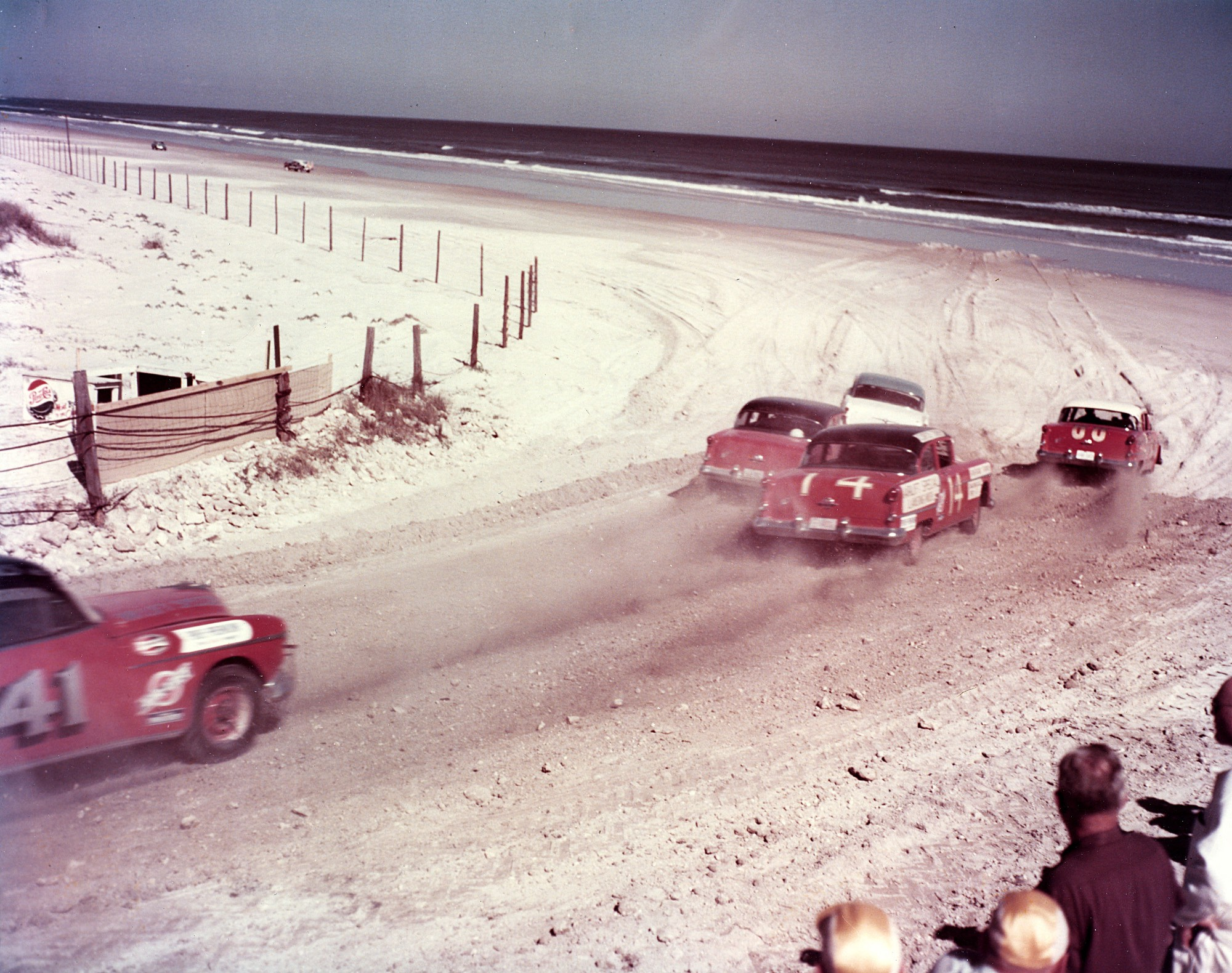 Cars Exit The South Turn Of Daytona Beach Road Course During 1954 Nascar Cup Race Tim Flock S 88 Oldsmobile Took Checkered Flag But Was