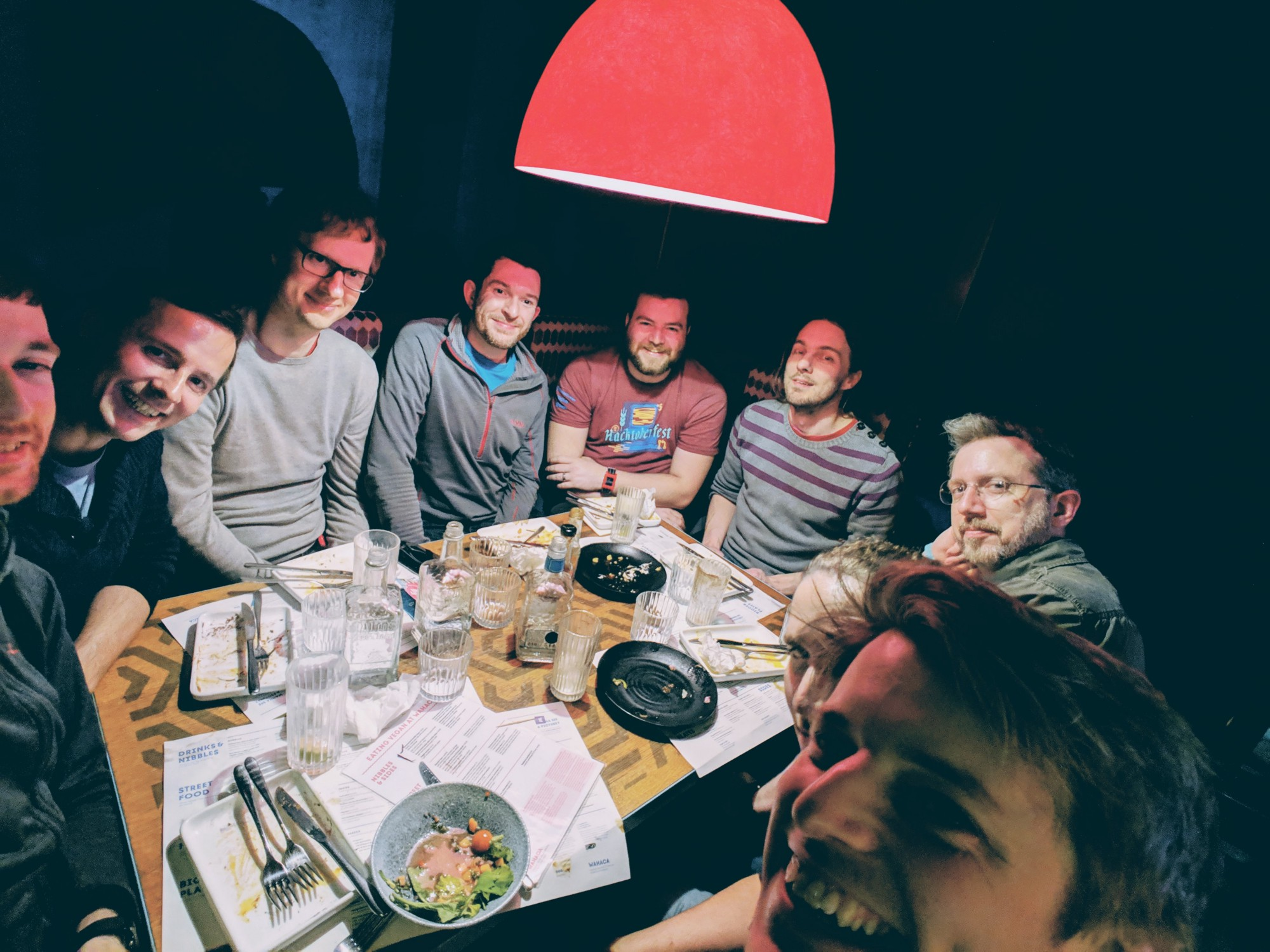 Trying to fit the whole (cramped) Wahaca dinner table into one photo. **Clockwise from left:** Philip Withnall, Florian Müllner, Kalev Lember, Allan Day, Cassidy Blaede, Iain Lane, Nathan Willis, Georges Stavracas, Nick Richards.
