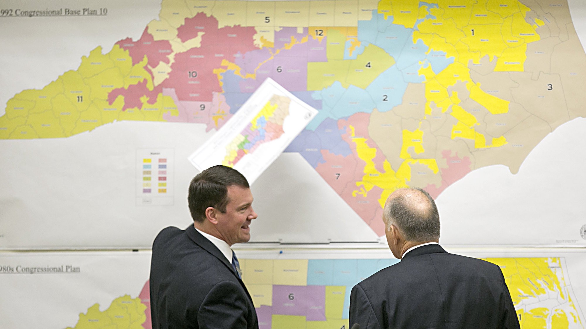 North Carolina State Senators Dan Soucek Left And Brent Jackson Right Review Historical Maps Of The State On Feb 16 In Raleigh N C Corey