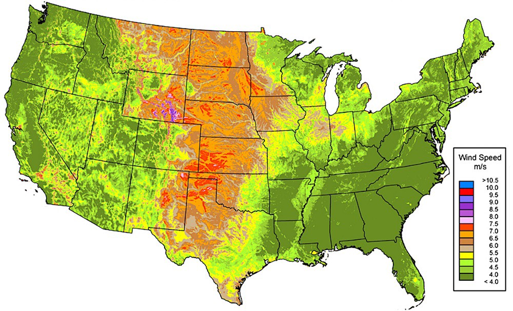 The Winds Above Wyoming Nexus Media - Us wind speed map