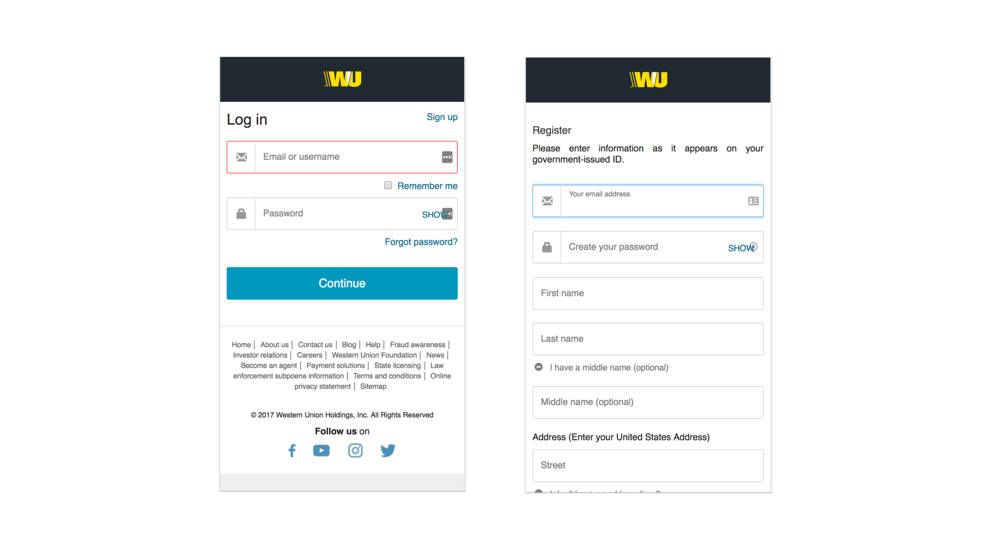 UX Analysis of Western Union Android app\'s Signup screen