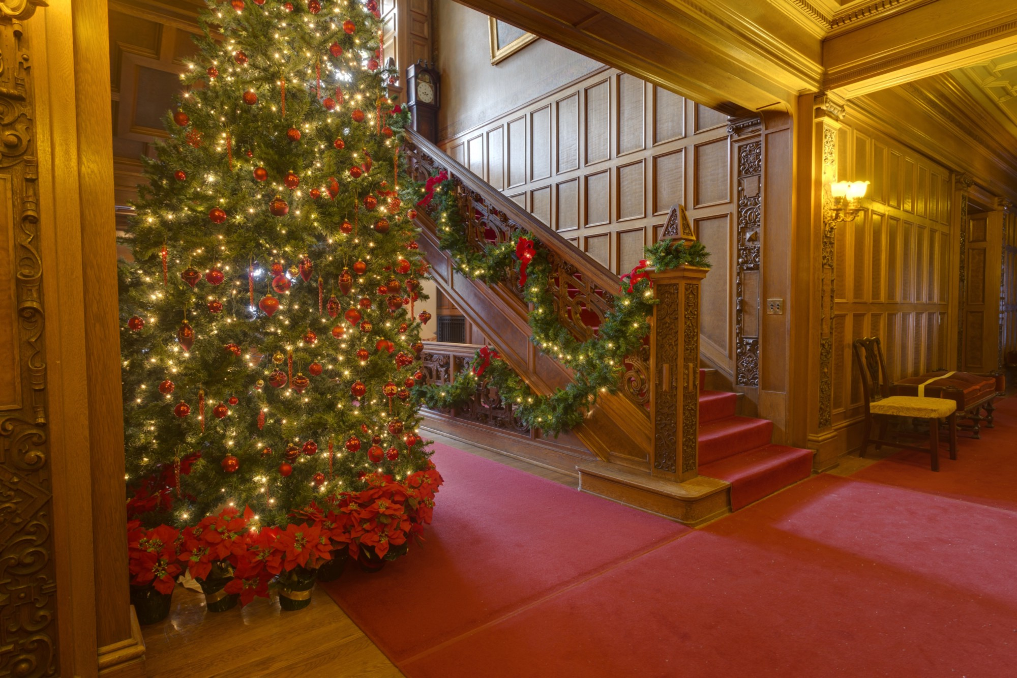 the main hall of glensheen with the largest christmas tree proudly on display for all to see