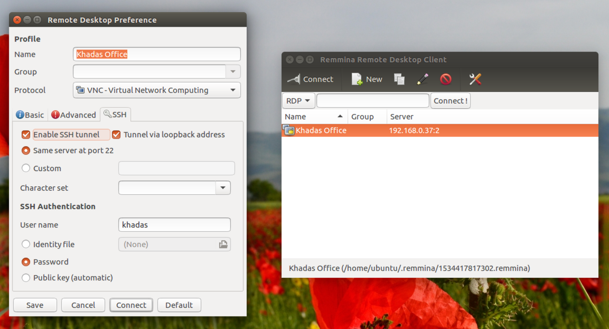 On Ubuntu 16.04, you can use the Remmina Remote Desktop Client, it has built-in SSH encryption.