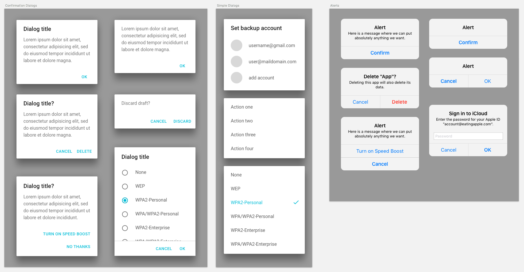 Android Vs Ios Compare 20 Ui Components Patterns Part 1 And The Red On Other 2nd Switch Utilizes Black White Guidelines Suggest Content Should Be Short To Avoid Scrolling In Alerts