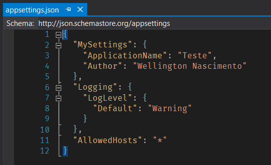 Arquivo appsettings.json