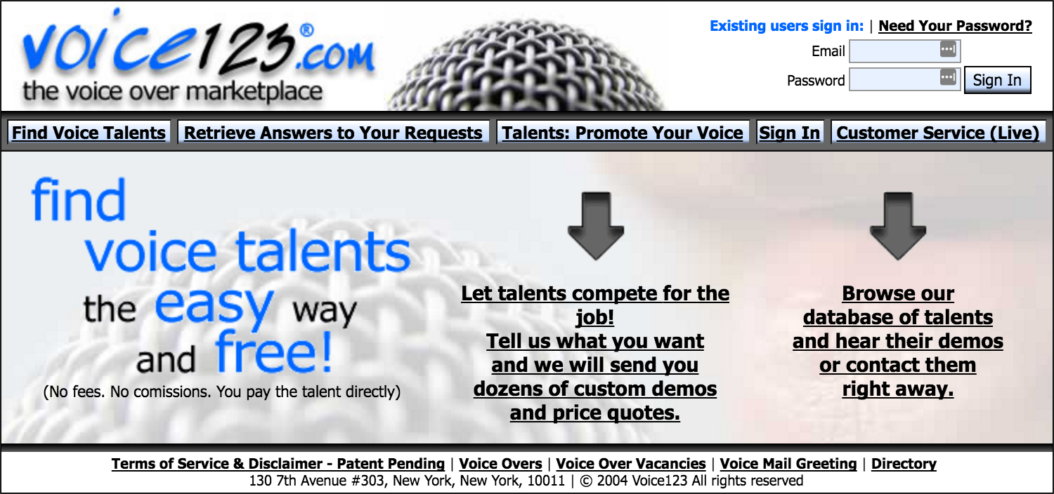 Voice123: an image of the original landing page