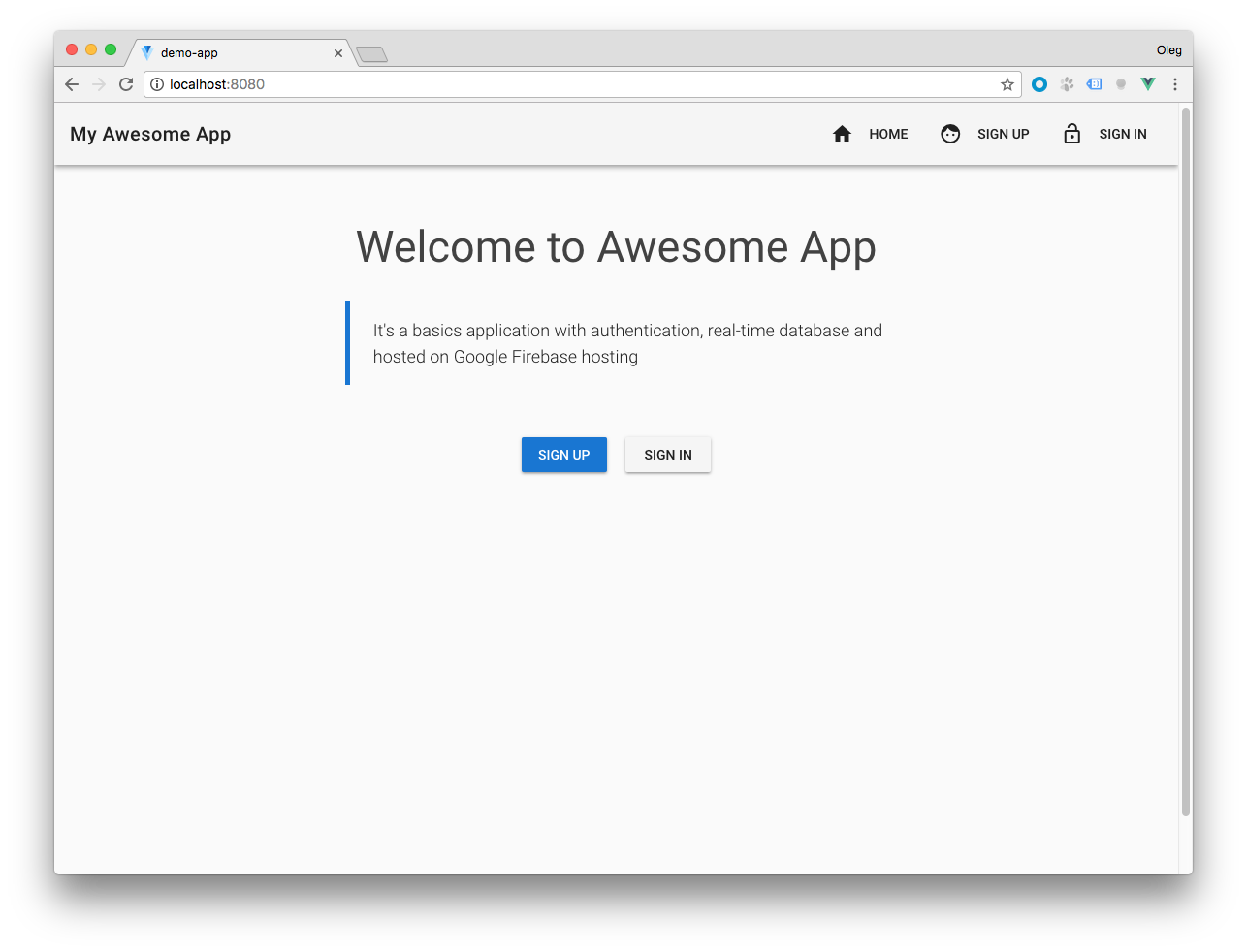 Basic Single Page application using Vue.js and Firebase—Part 1