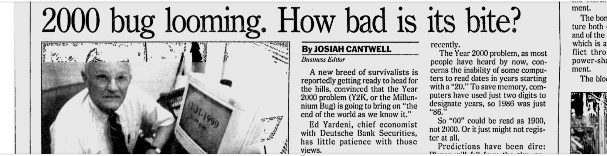 a report on y2k the millennium bug Y2k research picks up although wall street has been slow to recognize the year 2000 problem as a serious financial and strategic issue, lately it seems to be warming up to the bug.
