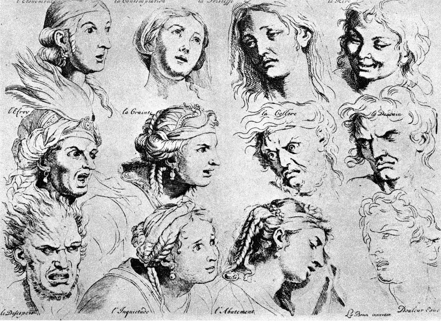 Sketches of emotional facial expressions, Charles Le Brun, 1698. Photo credit: Pubblic Domain.