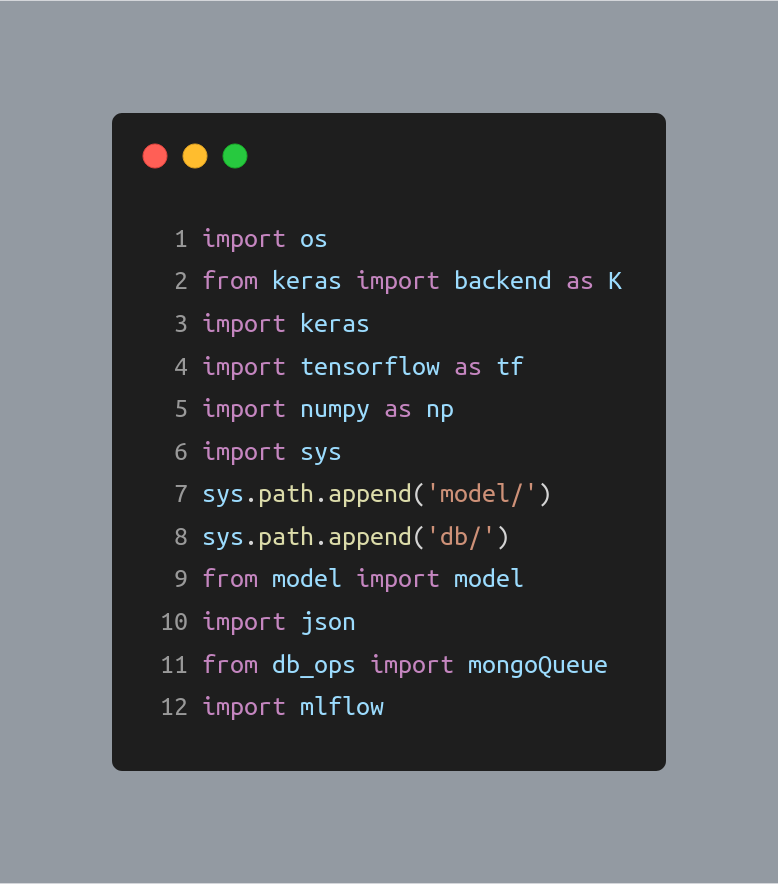 Fig 11: Importing packages in the main script