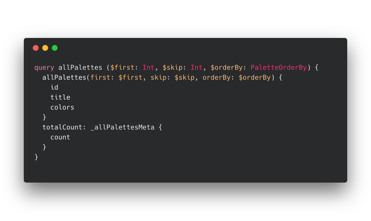 New query with first and skip arguments