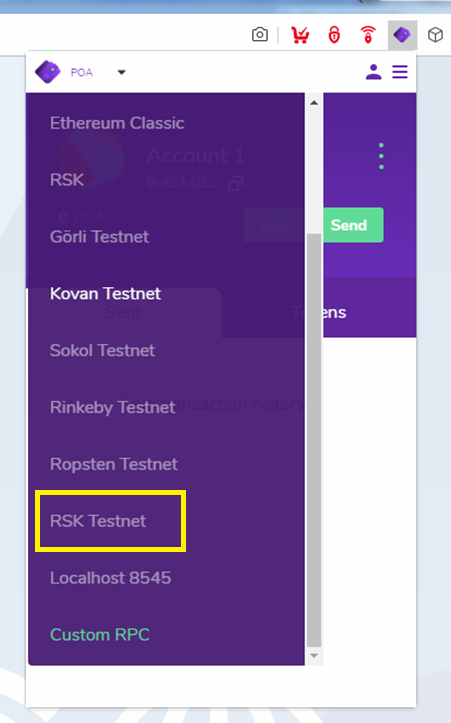 RSK Testnet is included as well!